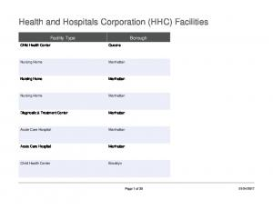 Health and Hospitals Corporation (HHC) Facilities