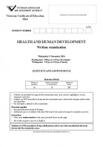 HEALTH AND HUMAN DEVELOPMENT