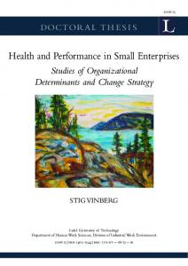 Health and Performance in Small Enterprises
