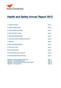 Health and Safety Annual Report 2013