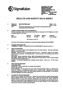 HEALTH AND SAFETY DATA SHEET