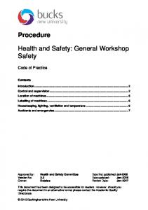 Health and Safety: General Workshop Safety