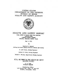 HEALTH AND SAFETY REPORT