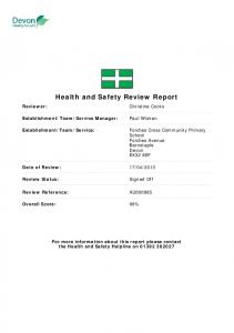 Health and Safety Review Report