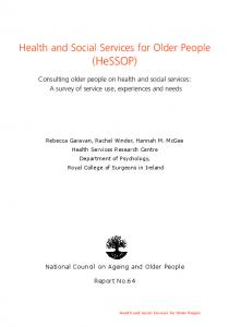 Health and Social Services for Older People. (HeSSOP)