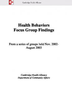 Health Behaviors Focus Group Findings