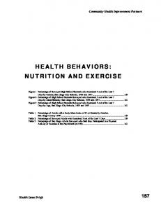 HEALTH BEHAVIORS: NUTRITION AND EXERCISE