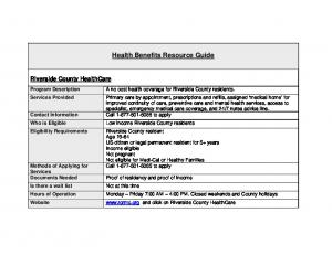 Health Benefits Resource Guide