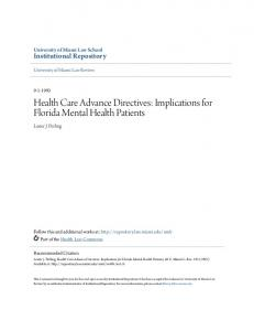 Health Care Advance Directives: Implications for Florida Mental Health Patients