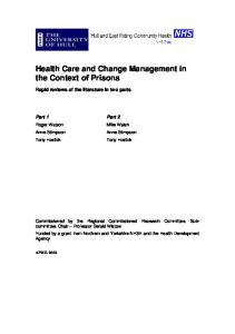 Health Care and Change Management in the Context of Prisons