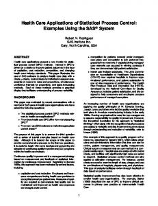Health Care Applications of Statistical Process Control: Examples Using the SAS System