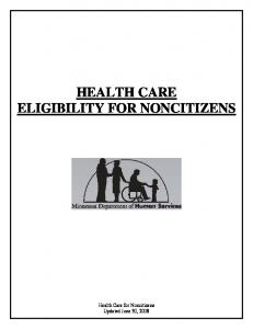 HEALTH CARE ELIGIBILITY FOR NONCITIZENS