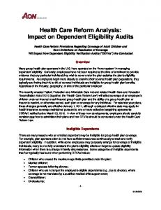 Health Care Reform Analysis: Impact on Dependent Eligibility Audits