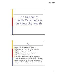 Health Care Reform on Kentucky Health