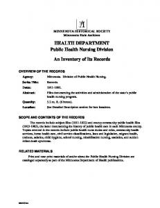 HEALTH DEPARTMENT Public Health Nursing Division. An Inventory of Its Records