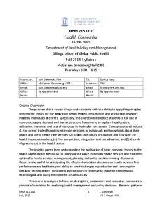 Health Economics 3 Credit Hours