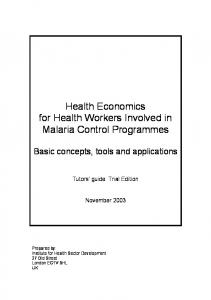 Health Economics for Health Workers Involved in Malaria Control Programmes