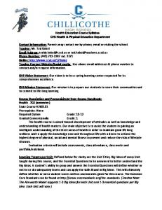 Health Education Course Syllabus CHS Health & Physical Education Department