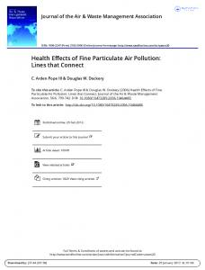 Health Effects of Fine Particulate Air Pollution: Lines that Connect