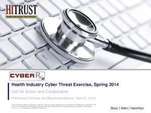Health Industry Cyber Threat Exercise, Spring 2014