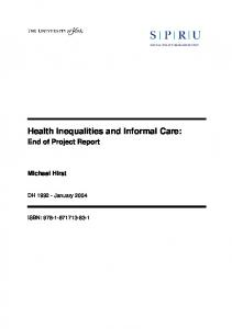 Health Inequalities and Informal Care: