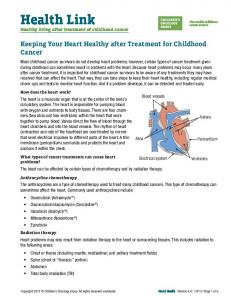 Health Link. Keeping Your Heart Healthy after Treatment for Childhood Cancer. Healthy living after treatment of childhood cancer