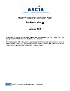 Health Professional Information Paper. Antibiotic allergy. January 2014