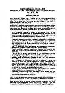 Health Professions Council - HPC Application by The Association for Dance Movement Therapy UK - ADMT UK
