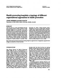Health promoting hospitals: a typology of different organizational approaches to health promotion