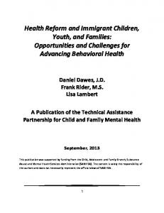 Health Reform and Immigrant Children, Youth, and Families: Opportunities and Challenges for Advancing Behavioral Health