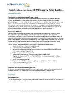 Health Reimbursement Account (HRA) Frequently Asked Questions