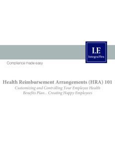 Health Reimbursement Arrangements (HRA) 101
