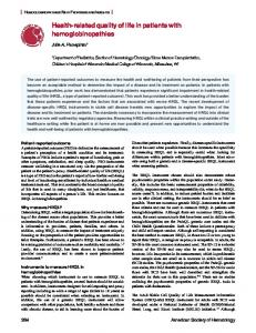 Health-related quality of life in patients with hemoglobinopathies