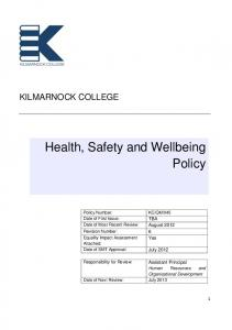 Health, Safety and Wellbeing Policy
