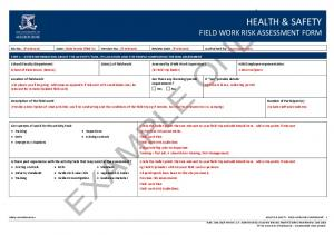 HEALTH & SAFETY FIELD WORK RISK ASSESSMENT FORM