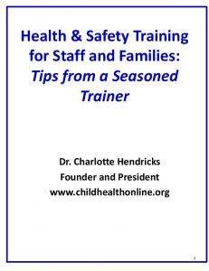 Health & Safety Training for Staff and Families: Tips from a Seasoned Trainer