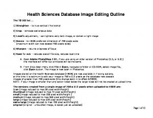 Health Sciences Database Image Editing Outline