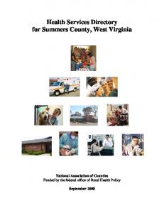 Health Services Directory for Summers County, West Virginia