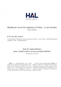 Healthcare access for migrants in China : A new frontier