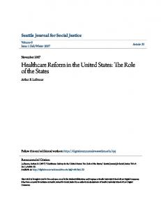 Healthcare Reform in the United States: The Role of the States