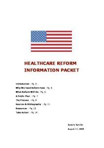 HEALTHCARE REFORM INFORMATION PACKET