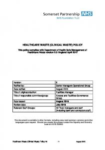 HEALTHCARE WASTE (CLINICAL WASTE) POLICY