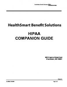 HealthSmart Benefit Solutions HIPAA COMPANION GUIDE