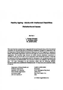 Healthy Ageing - Adults with Intellectual Disabilities. Biobehavioural Issues
