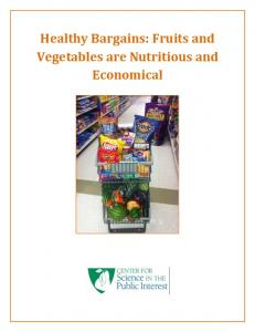 Healthy Bargains: Fruits and Vegetables are Nutritious and Economical