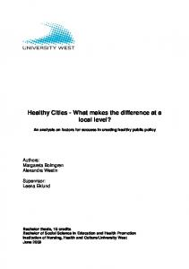 Healthy Cities - What makes the difference at a local level?