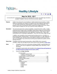 Healthy Lifestyle. Healthy Lifestyle Guidelines (August 2016) 1