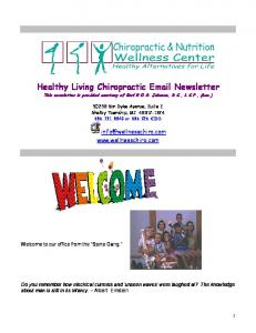 Healthy Living Chiropractic  Newsletter