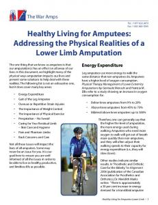 Healthy Living for Amputees: Addressing the Physical Realities of a Lower Limb Amputation
