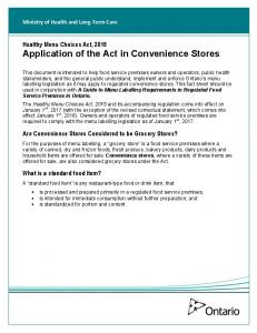 Healthy Menu Choices Act, 2015 Application of the Act in Convenience Stores. Are Convenience Stores Considered to be Grocery Stores?